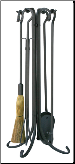 5 Piece Uniflame Olde World Iron Fireplace Tool Set (SKU: F-1181)