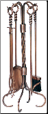 5 Piece Antique Copper Fireplace Tools with Ring and Swirl Handles (SKU: F-1311)