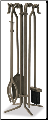 5 Piece Bronze Fireplace Tools with Crook Handles (SKU: F-1614)