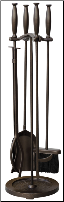 5 Piece Bronze Finish Fireplace Tools with Cylinder Handles