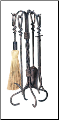 5 Piece Antique Rust Twisted Handle Fireplace Tools (SKU: F-1695)