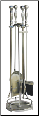 5 Piece Satin Pewter Fireplace Tools With Ball Handles (SKU: F-7543)