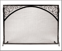 Sterling Flat Panel Fireplace Screen With Scrollwork