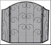3 Panel Black Wrought Iron Fireplace Screen with Decorative Scroll (SKU: S-1015)