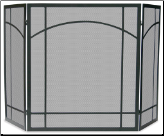 3 Fold Black Wrought Iron Mission Fireplace Screen
