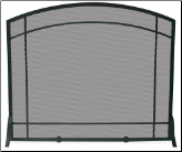 Single Panel Black Wrought Iron Mission Fireplace Screen (SKU: S-1029)