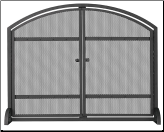 Single Panel Black Wrought Iron Fireplace Screen With Arch Top And Doors (SKU: S-1066)