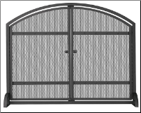 Single Panel Black Wrought Iron Fireplace Screen With Arch Top And Doors
