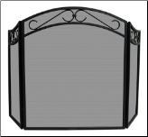 3 Fold Black Wrought Iron Fireplace Screen With Arch Top And Scrolls