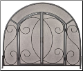 Single Panel Black Wrought Iron Ornate Fireplace Screen with Doors (SKU: S-1096)