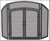 3 Fold Black Wrought Iron Arch Top Fireplace Screen with Doors  (SKU: S-1178)