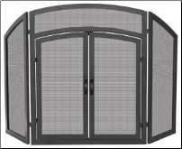 3 Fold Black Wrought Iron Arch Top Fireplace Screen with Doors