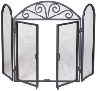 3 Fold Black Wrought Iron Screen with Opening Doors