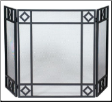 3 Fold Black Wrought Iron Fireplace Screen with Diamond Design