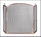 3 Panel Antique Copper With Arched Center Panel Fireplace Screen with Doors (SKU: S-1307)