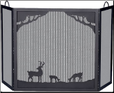 Deluxe 3-Panel Black Wrought Iron Fireplace Screen with Deer In Forest Scene (SKU: S-1333)