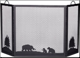 Deluxe 3-Panel Black Wrought Iron Fireplace Screen with Hunting Bear Scene (SKU: S-1336)
