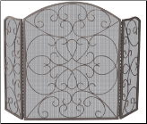 3 Fold Bronze Wrought Iron Fireplace Screen With Scroll Design (SKU: S-1600)