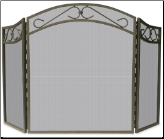 3 Fold Bronze Wrought Iron Arch Top Fireplace Screen With Scrolls