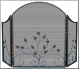 3 Fold Arch Top Graphite Fireplace Screen