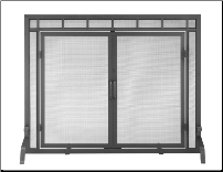 Black Fireplace Screen with Doors