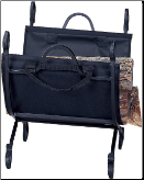 Hammered Crook Black Fireplace Log Holder with Canvas Carrier (SKU: W-1118)