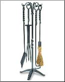 5 Piece Traditional Rope Fireplace Tools (SKU: WR-02)