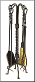 Twisted Rope Fireplace Tool Set (SKU: WR-29)