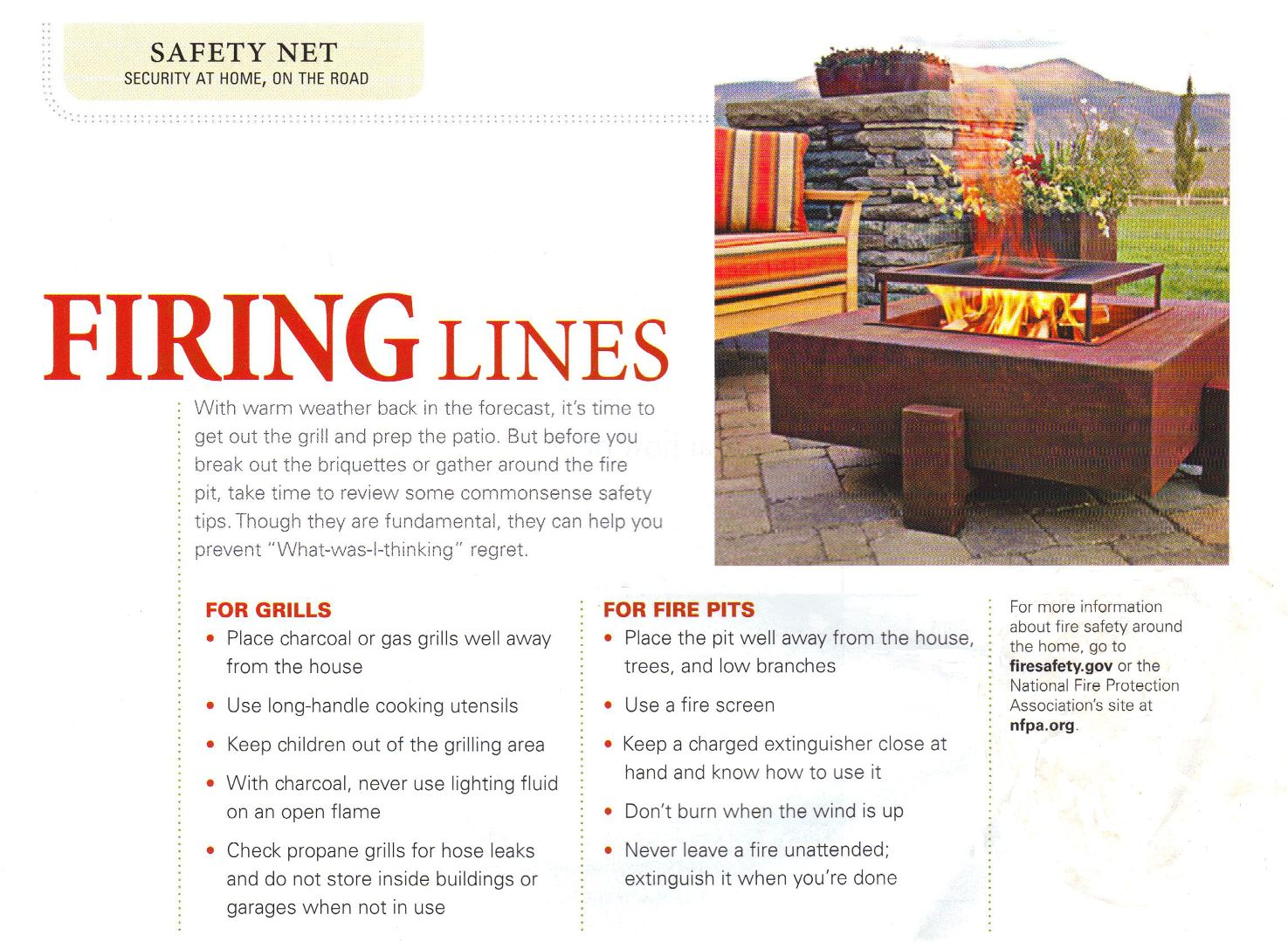 Safety For Use of Outdoor Grills and Fire Pits